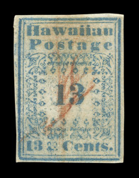 Hawaii: 1851-52, 13 cents blue type 1, used.
